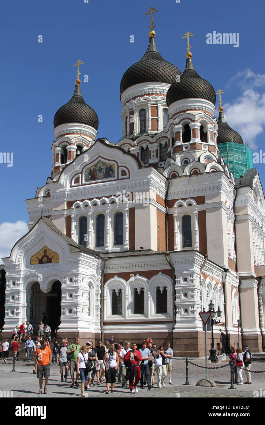 Domes of the Alexander Nevsky Cathedral in Tallinn, Estonia - Stock Image
