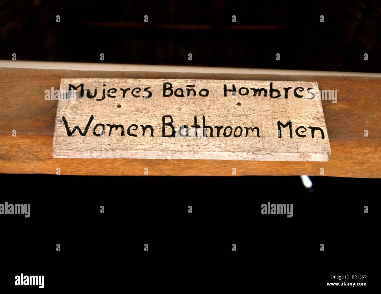 Bathroom sign in Michoacan, Mexico. - Stock Image