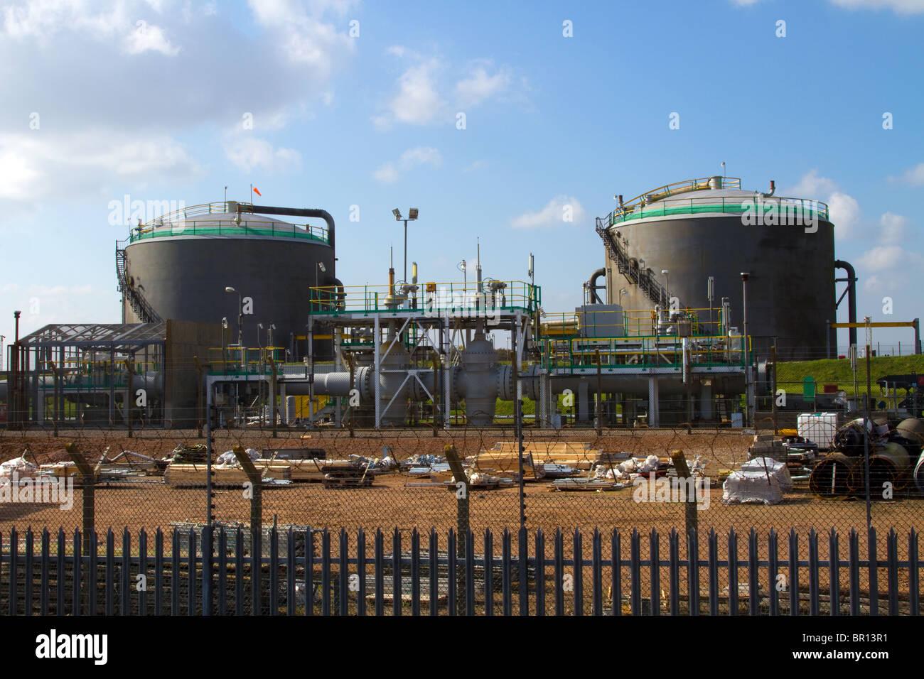 British Petroleum Storage Tanks, Forties Field North sea pipeline base, Cruden Bay, Aberdeenshire  Scotland, UK - Stock Image