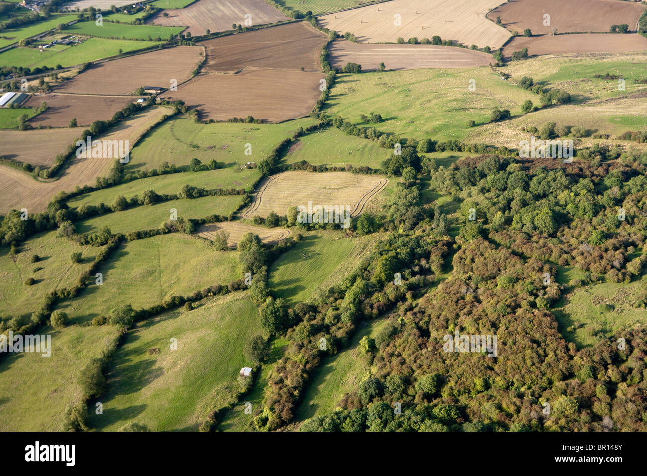 Typical English countryside - small fields, hedges and woodland on the Cotswolds NE of Winchcombe, Gloucestershire - Stock Image