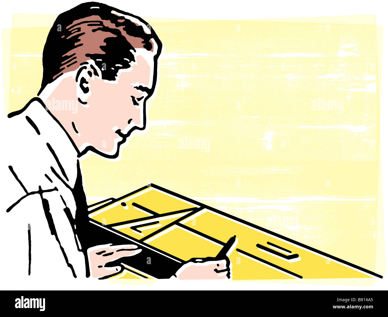A vintage illustration of an architect - Stock Image