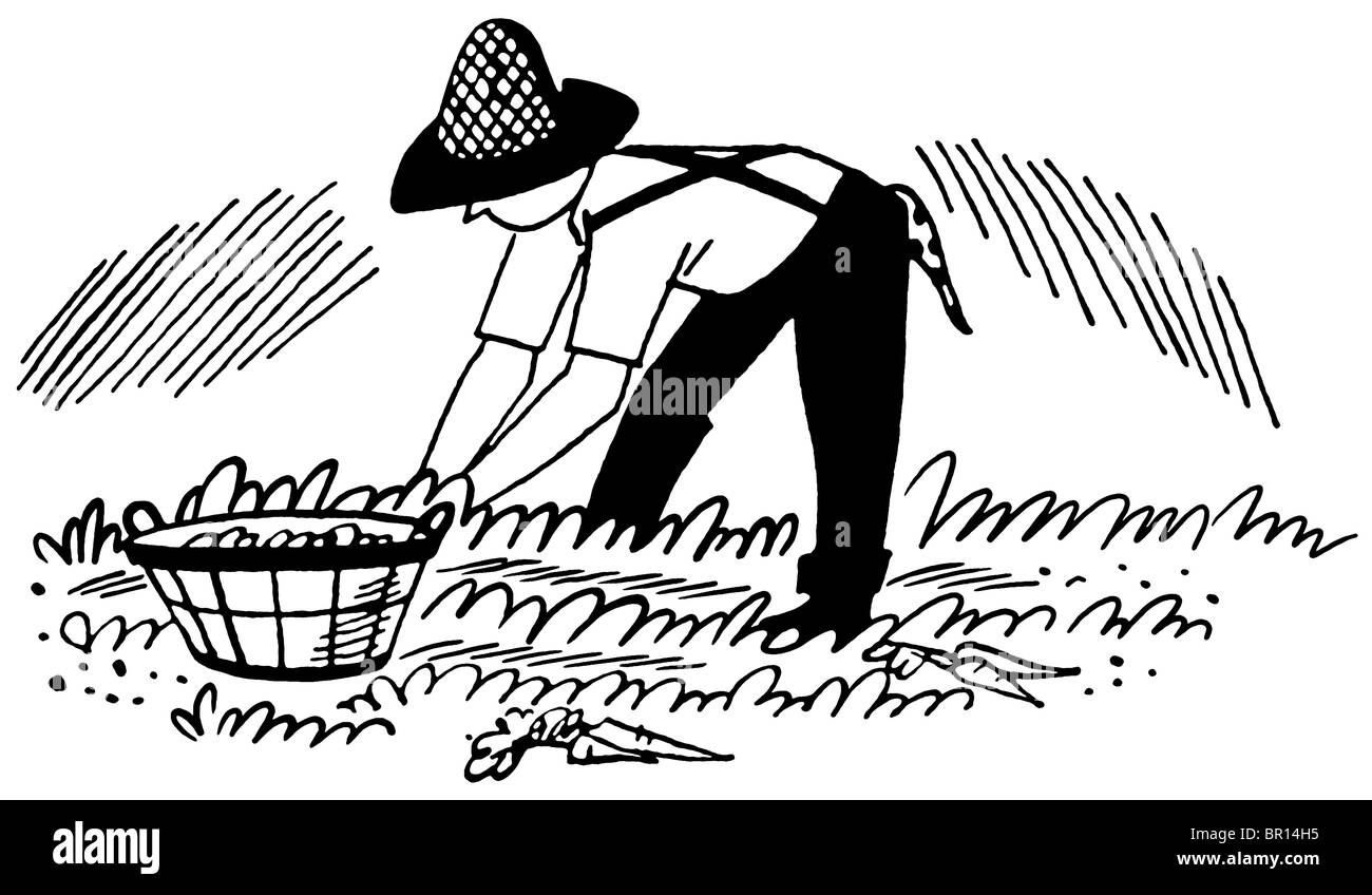 A black and white version of an illustration of a man working in the fields - Stock Image