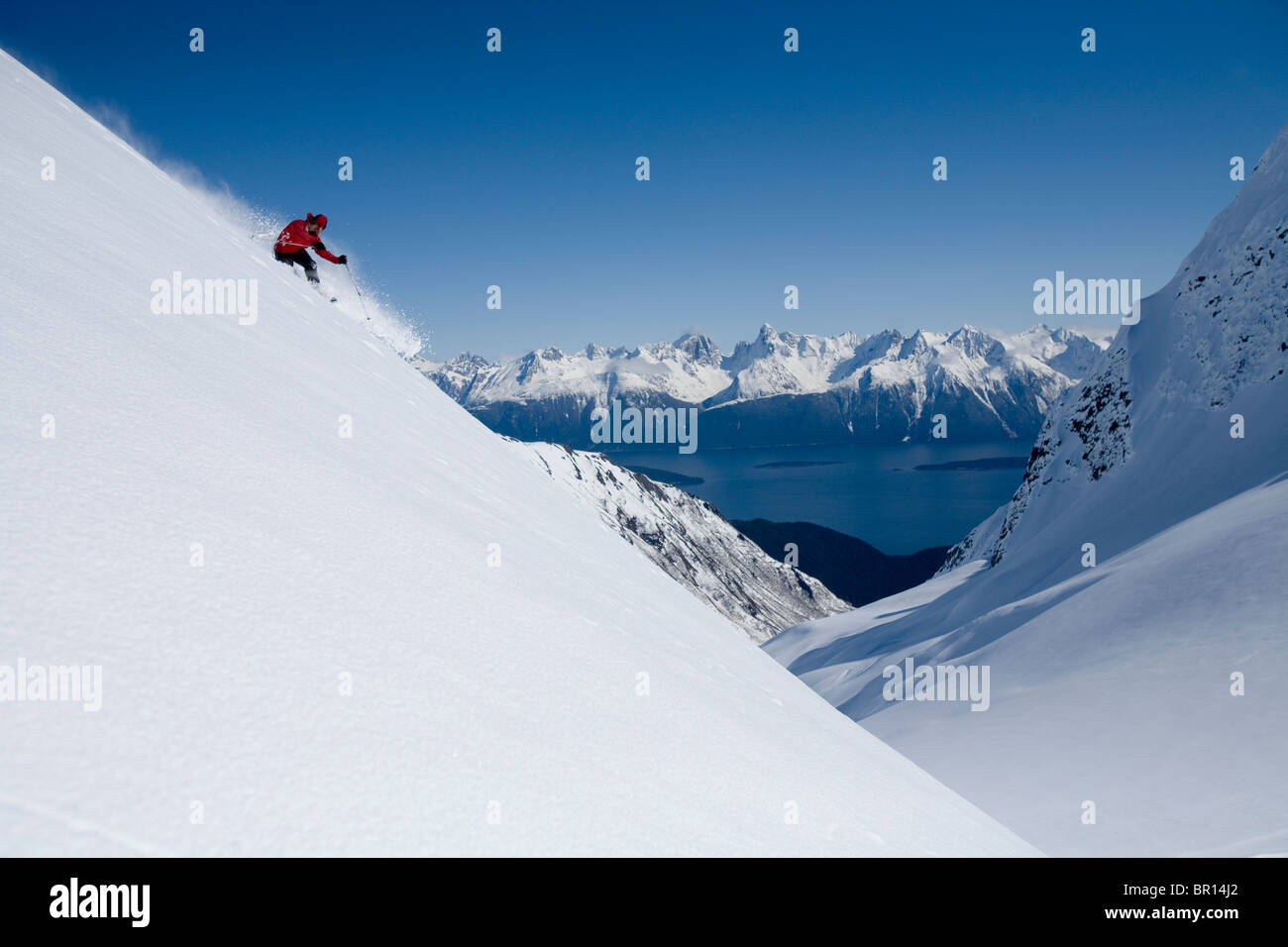 Telemark skier skis down steep mountain on sunny blue sky day in Alaska backcountry. - Stock Image