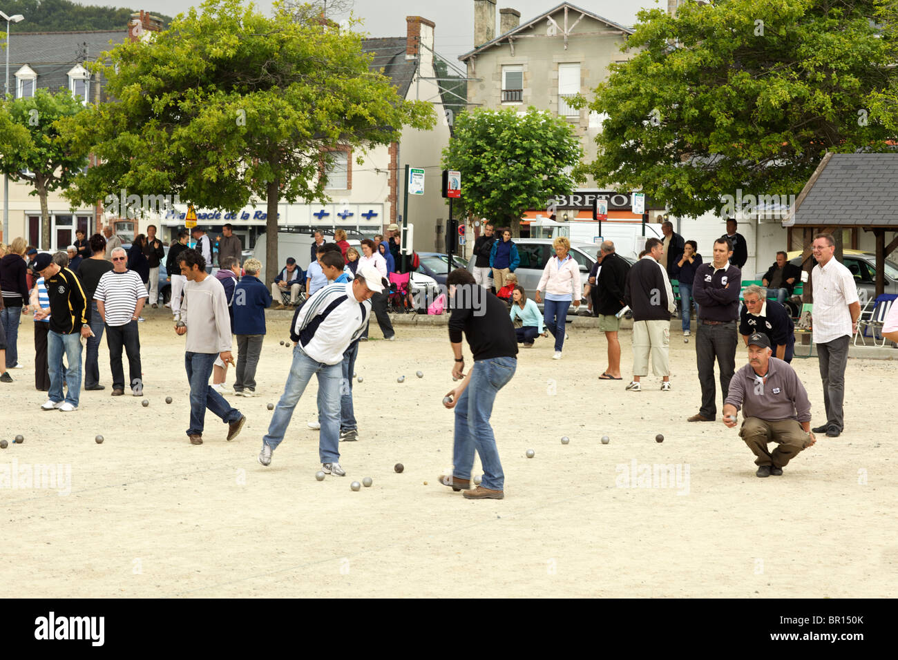 Petanque players at Perros Guirec in Brittany France Stock Photo