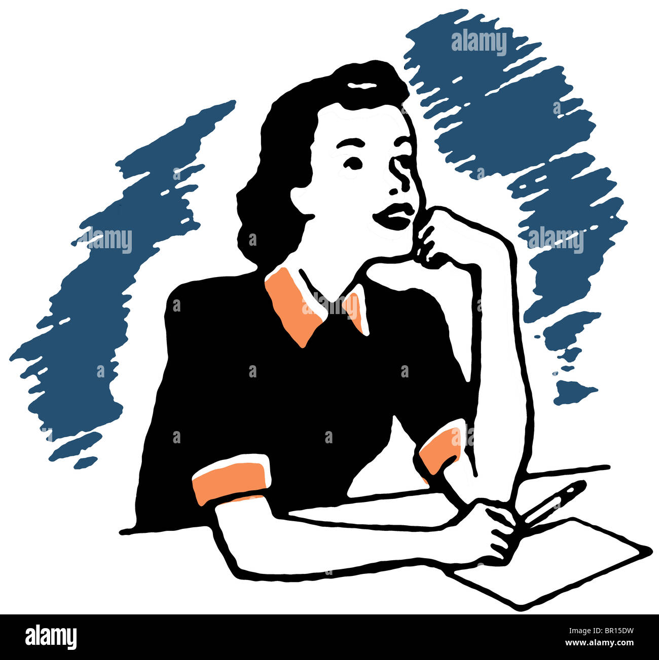 A vintage portrait illustration - Stock Image