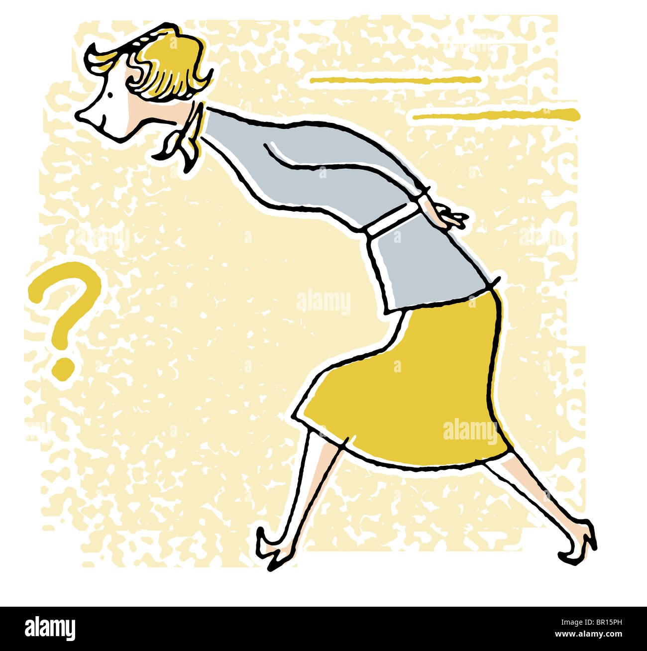 A cartoon style vintage image of a woman on a mission - Stock Image