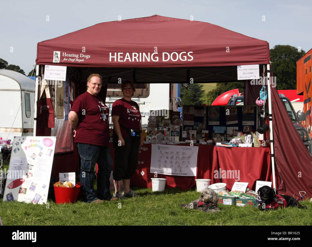 A Hearing Dogs stand at the Chatsworth Country Show, Derbyshire. - Stock Image