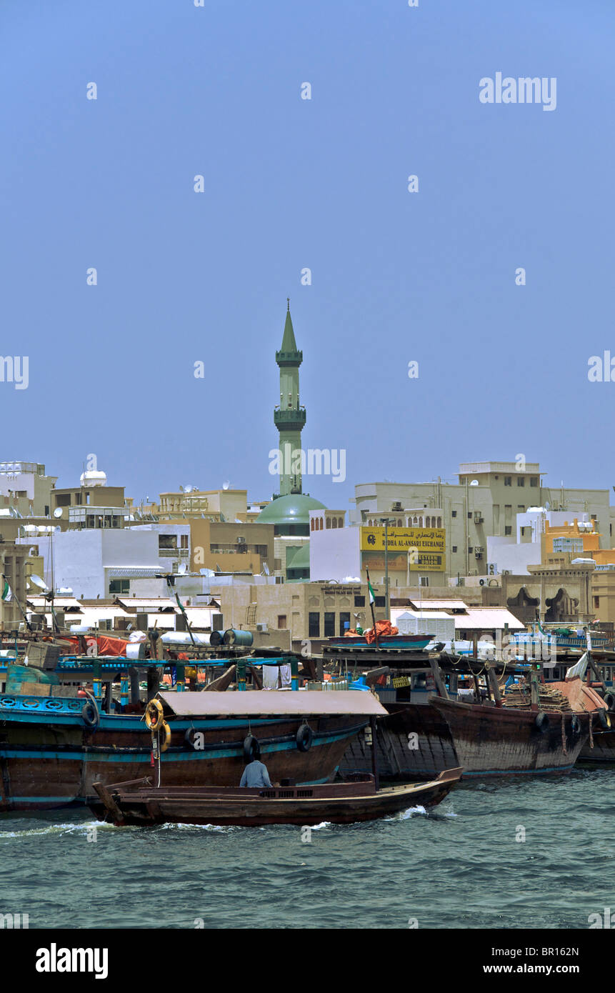 Bustling Dubai Creek and Deira area of Old Dubai UAR Stock Photo
