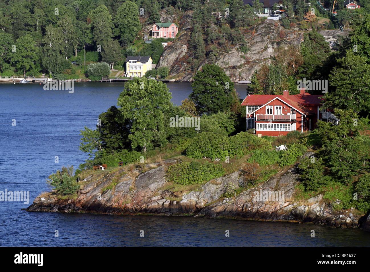 House in the Stockholm Archipelago in Stockholm, Sweden - Stock Image