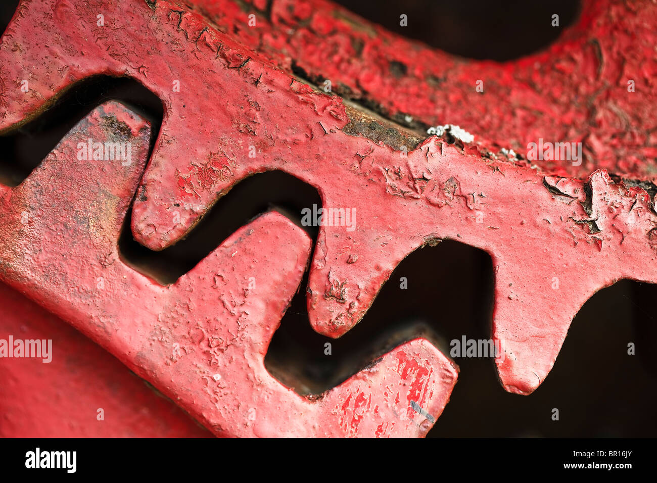 Gears from an antique threshing machine, close up view. - Stock Image
