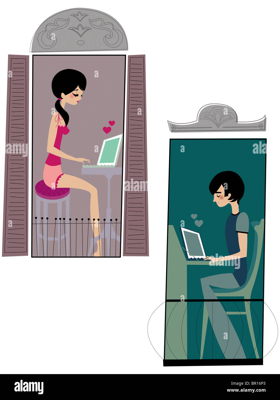 A couple exchanging love letters by e-mail - Stock Image