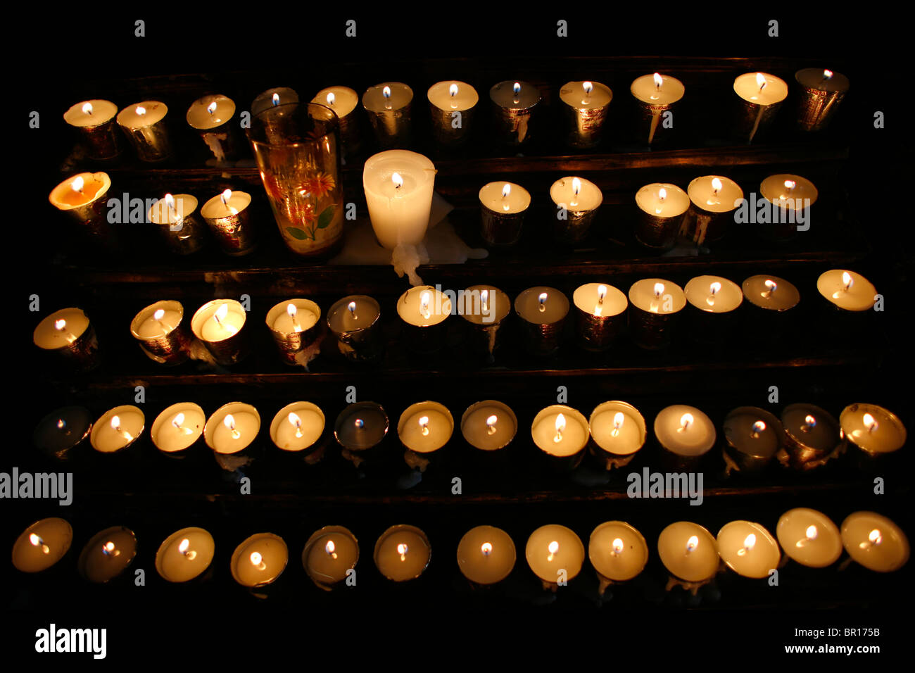 Candles in a church, August 17, 2007, in Puebla de Zaragoza, Mexico. - Stock Image