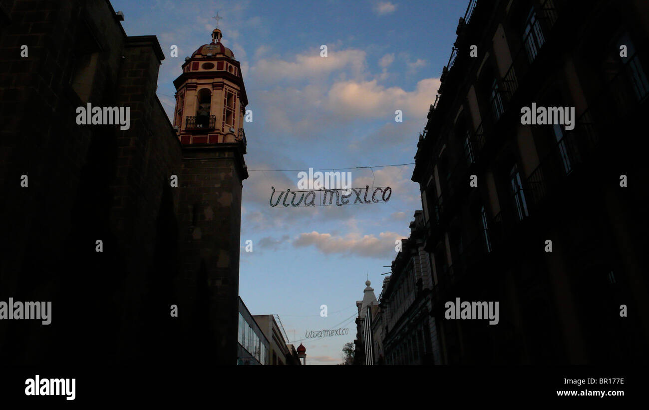 The bell tower of a church, August 17, 2007, in Puebla de Zaragoza, Mexico. - Stock Image