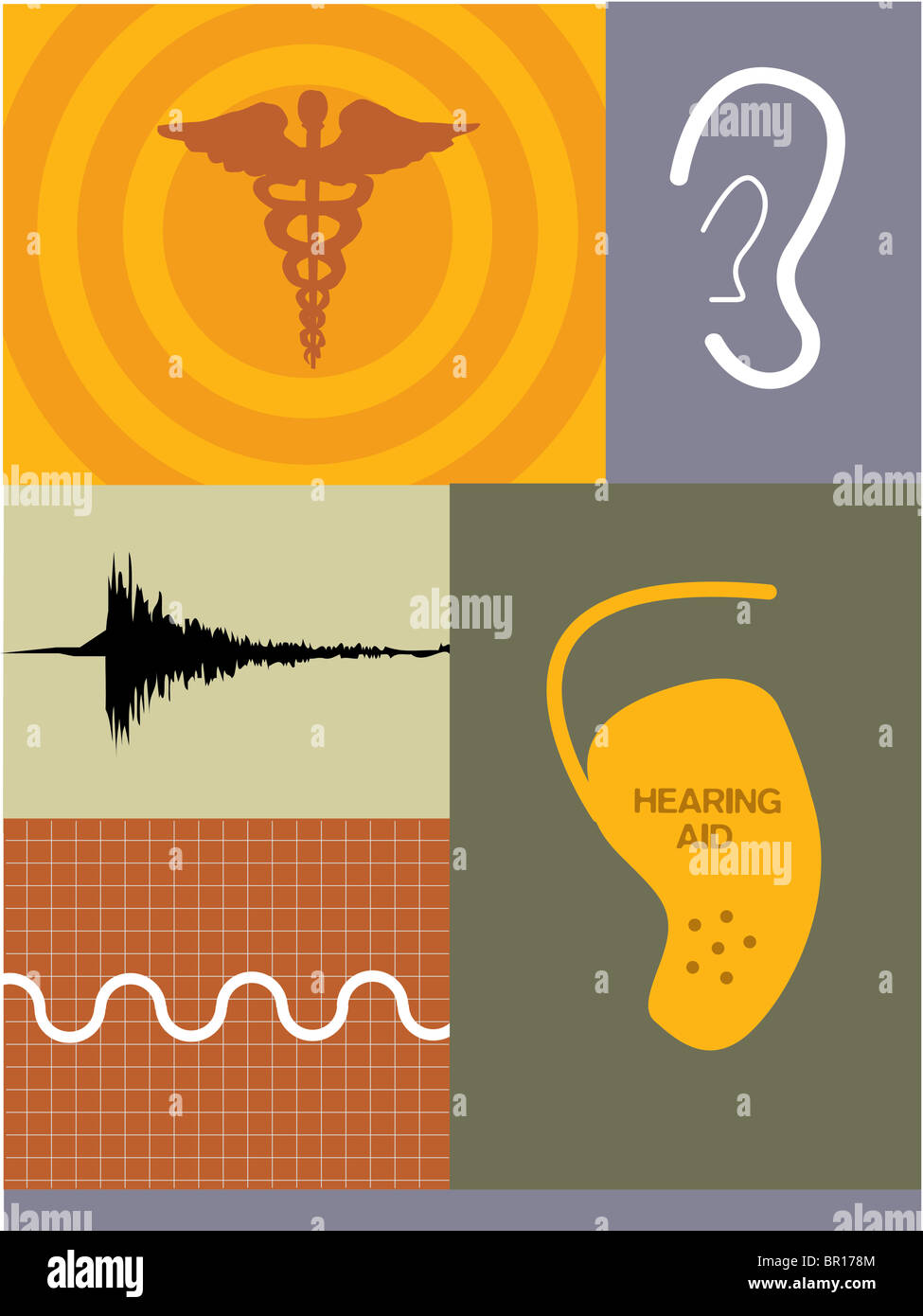 Illustrations Of Soundwaves A Hearing Aid And Caduceus Symbol Stock