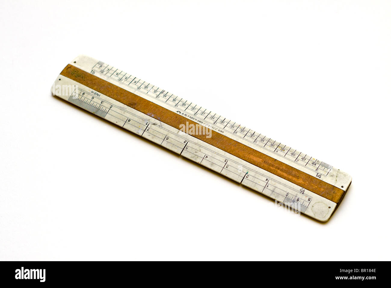 Antique ruler made by Faber Castell - Stock Image