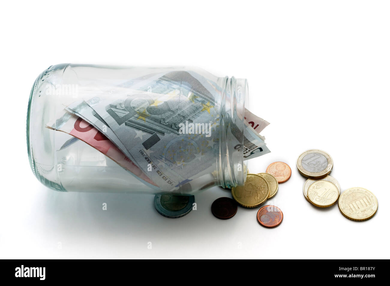 Money jar with Euros - Stock Image