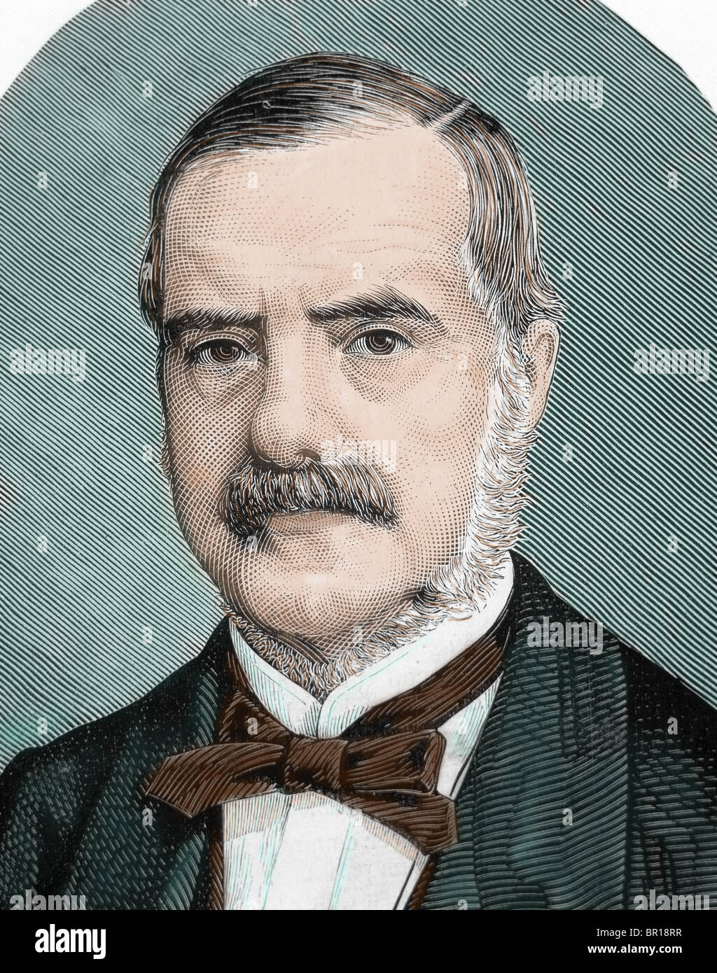 RHODES, Cecil John (1853-1902). English businessman and politician. Colored engraving. - Stock Image