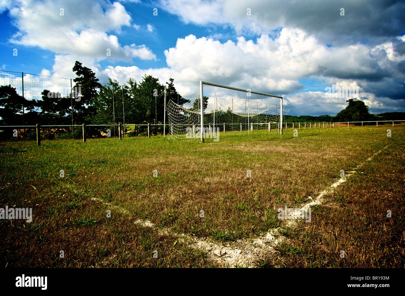 Football pitch and goalpost - Stock Image