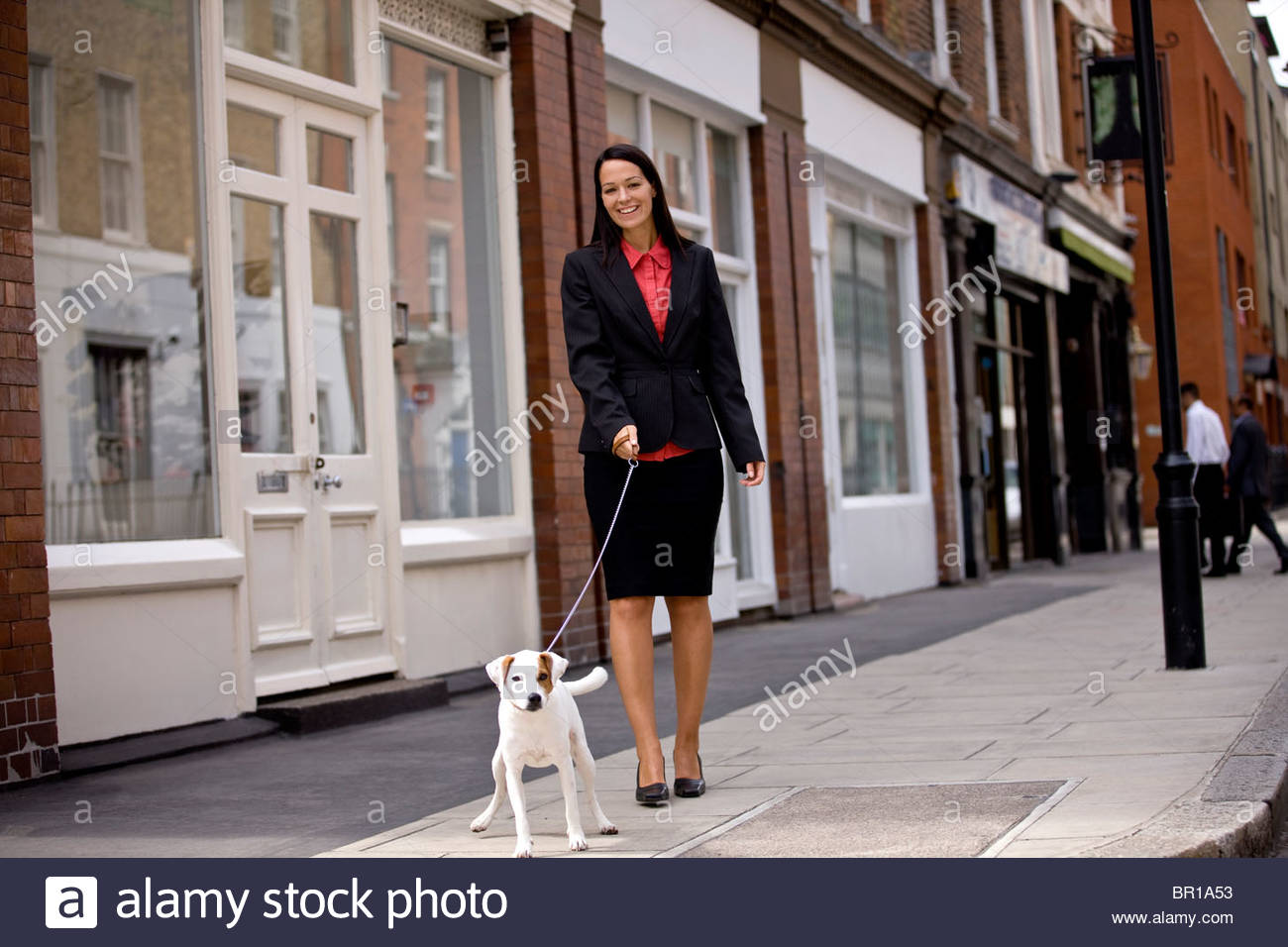 A businesswoman walking her dog in the street - Stock Image