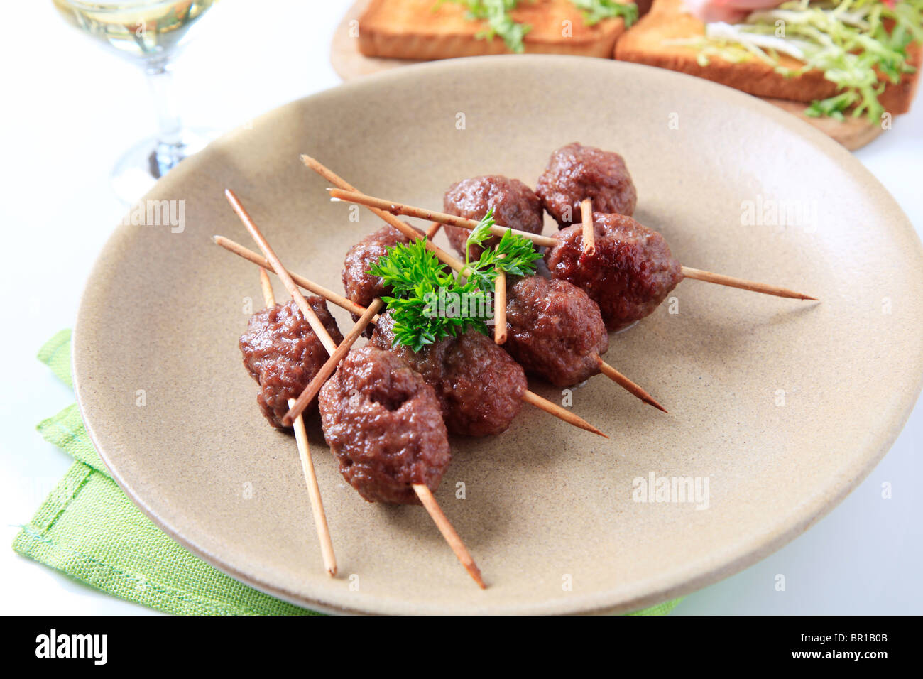 Roast minced meat balls - Stock Image