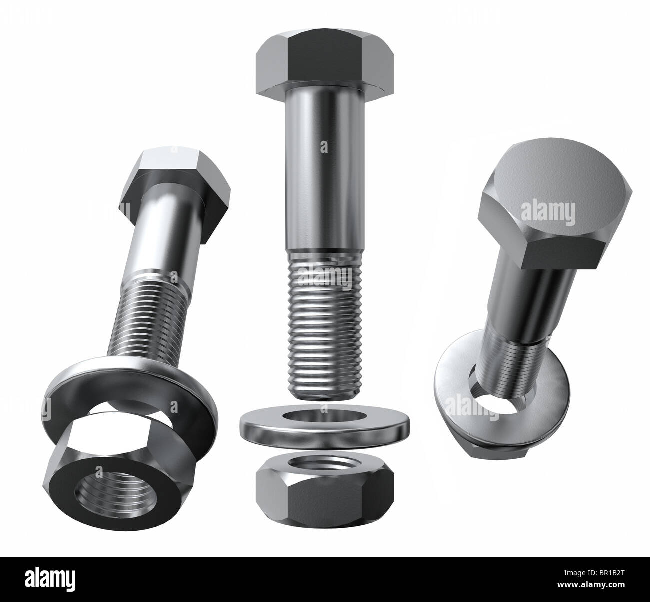 A set of bolts with washers and nuts in an exploded views from different angles. Isolated on white - Stock Image