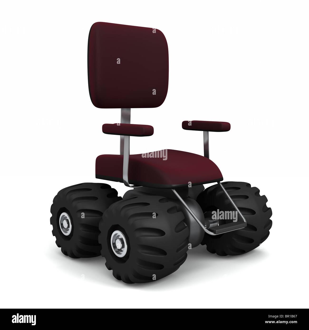 4 Wheel Drive Office Chair Big Monster Truck Tires