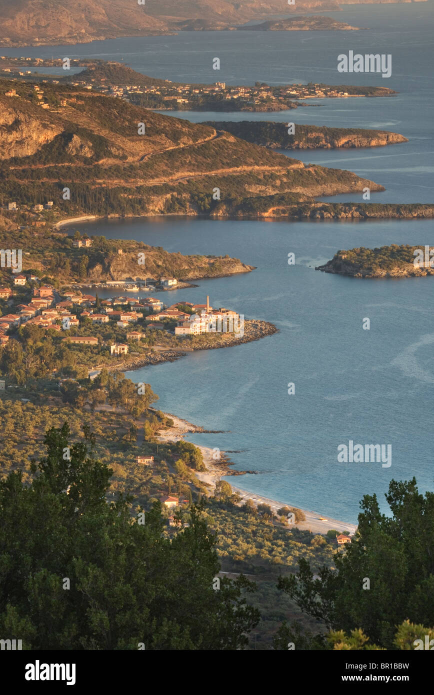 View of Kardamili and Stoupa villages in the Peloponnese of Greece - Stock Image