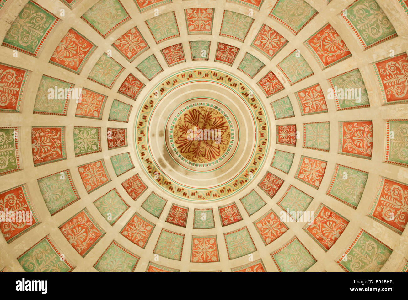 fresco inside the Monopteros temple at Englischer Garten park, Munich - Stock Image