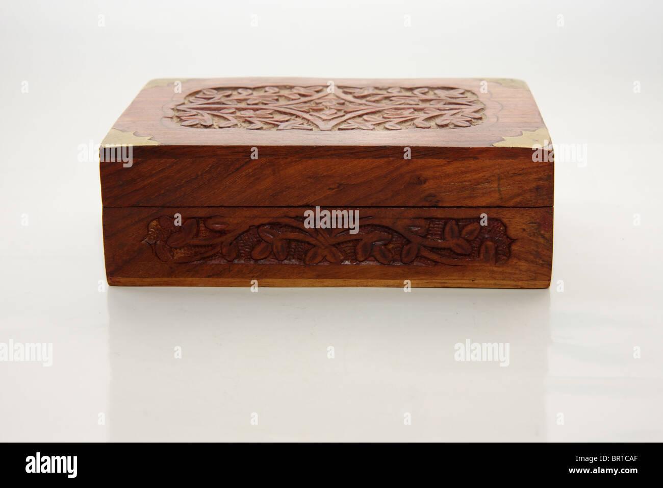 Wooden jewel box - Stock Image