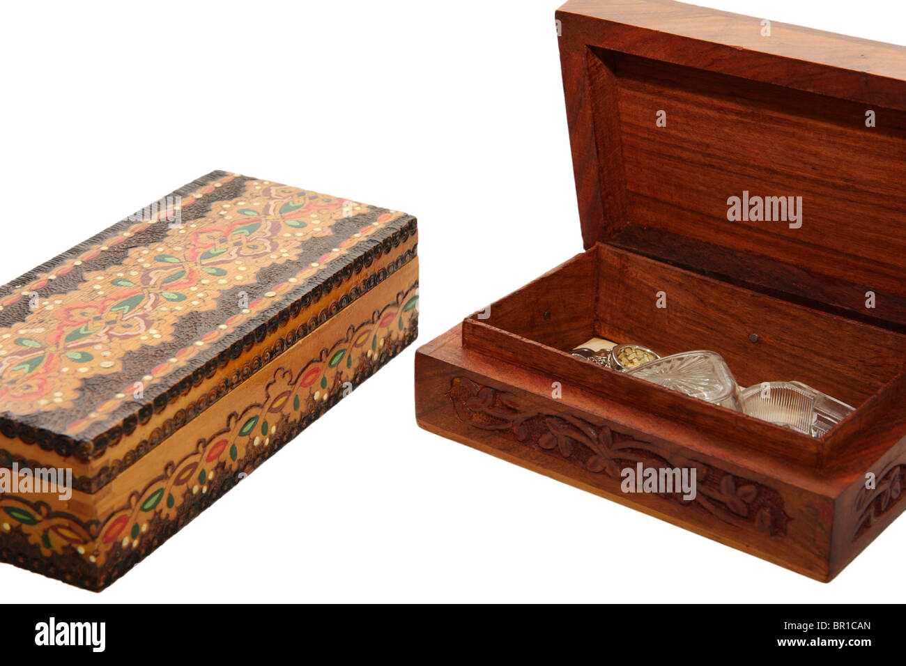 Wooden jewel-boxes isolated on white - Stock Image