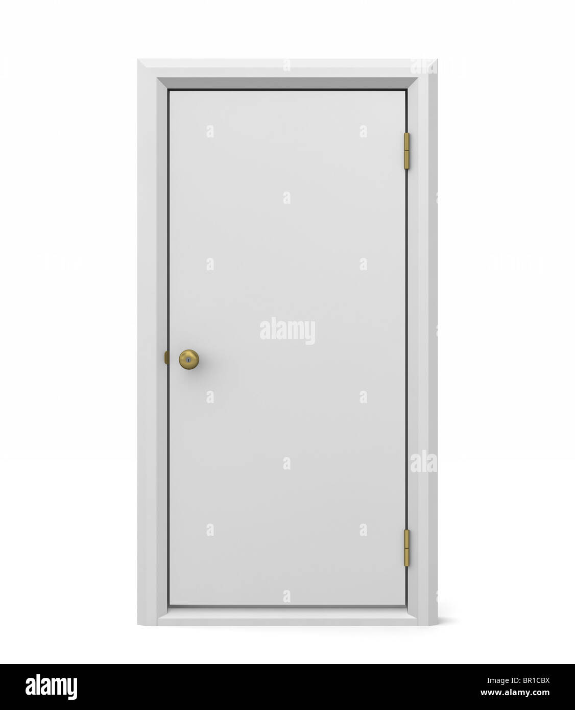 Simple white solid door and door frame free standing on an isolated ...