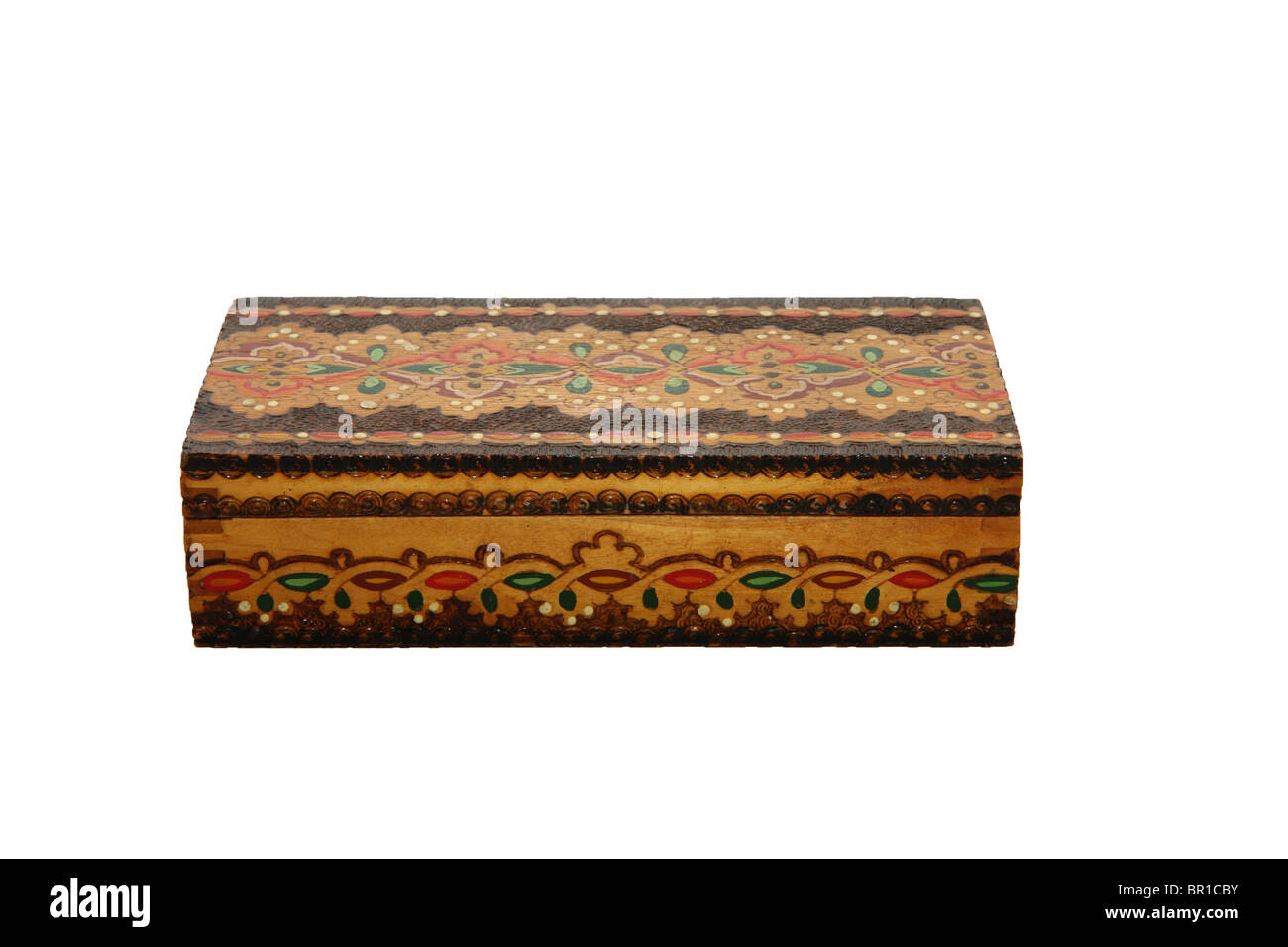 Wooden jewel box isolated on white - Stock Image