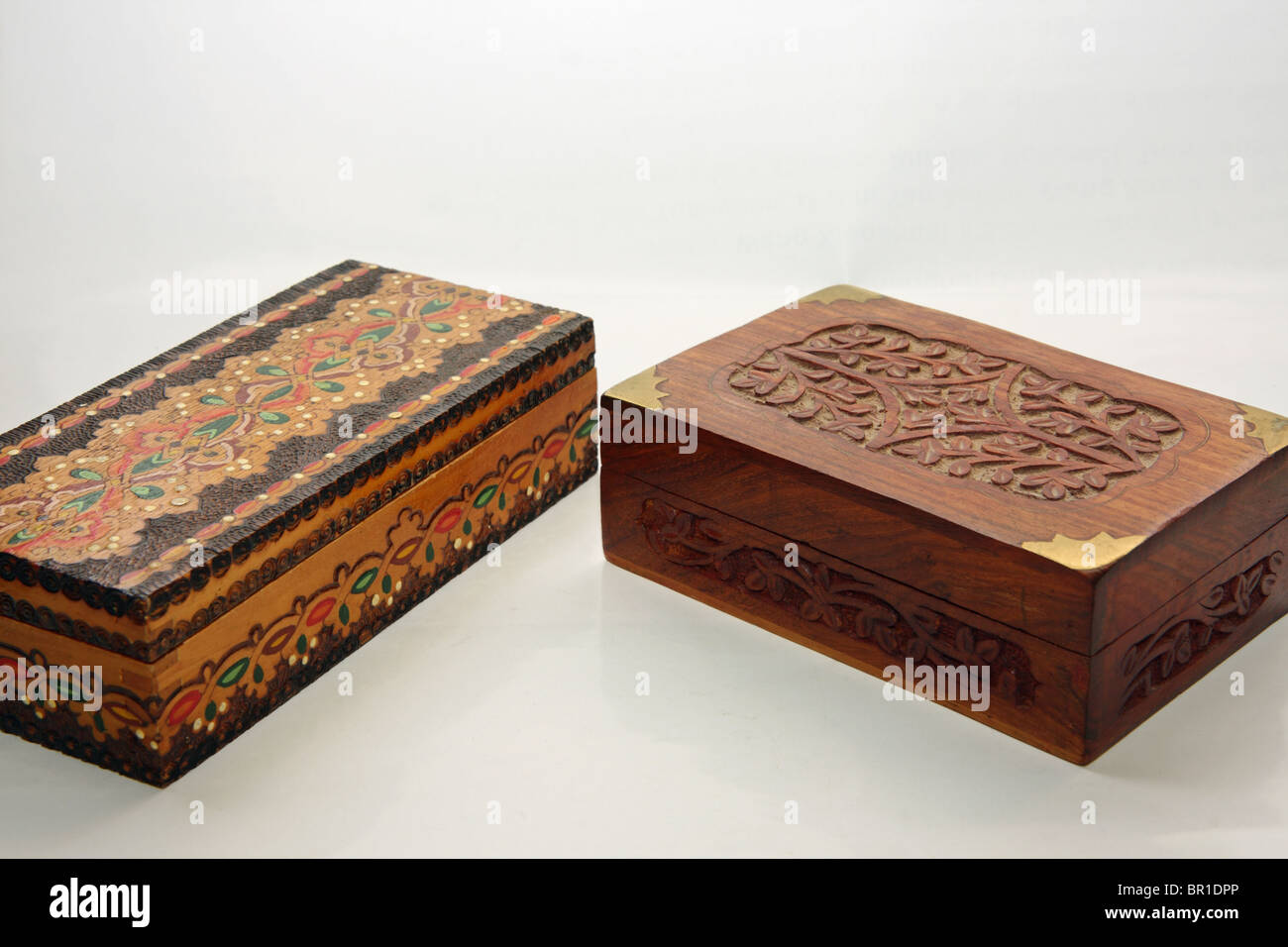 Wooden jewel-boxes - Stock Image