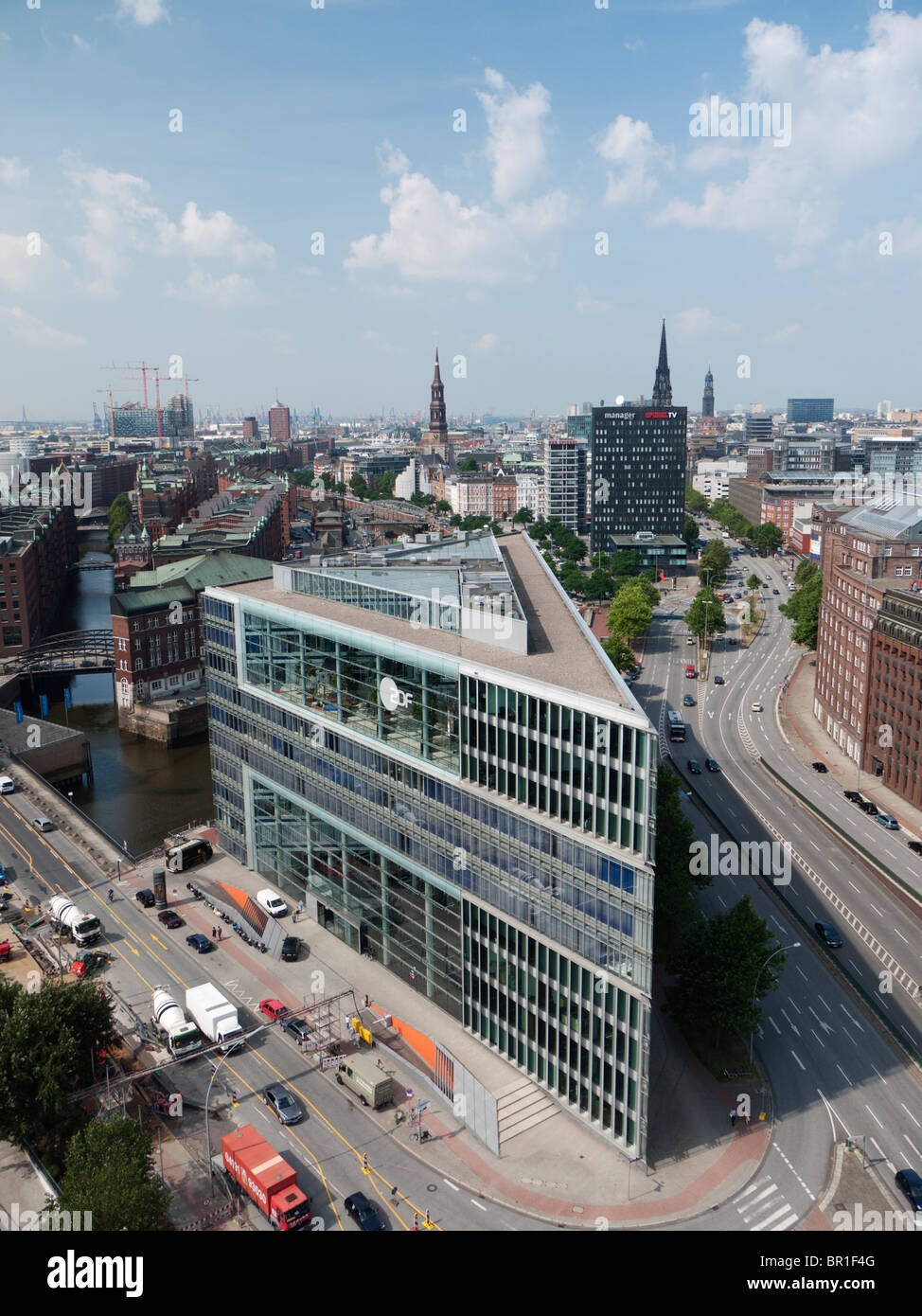 Aerial view of modern architecture of office building in Hafencity development in Hamburg Germany - Stock Image