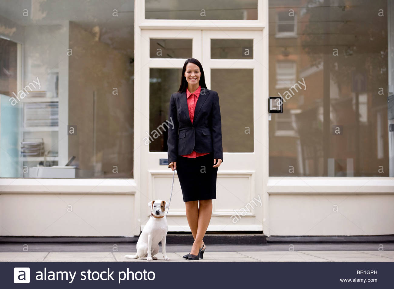 A businesswoman and her dog waiting to cross the road - Stock Image