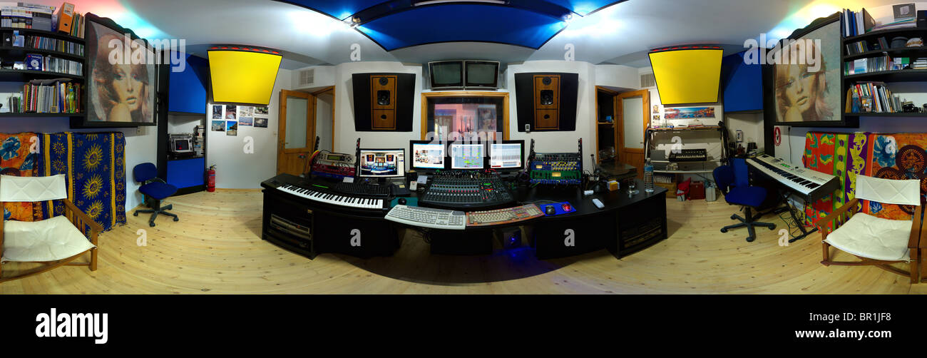 Modern recording studio control room 360 degree panorama Stock Photo
