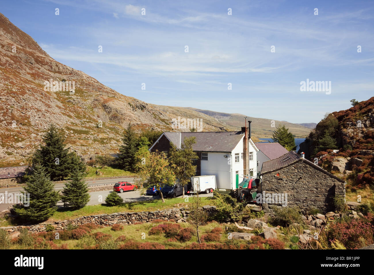 Ogwen Cottage outdoor pursuits centre. Ogwen Valley Gwynedd Snowdonia National Park North Wales UK Britain. - Stock Image