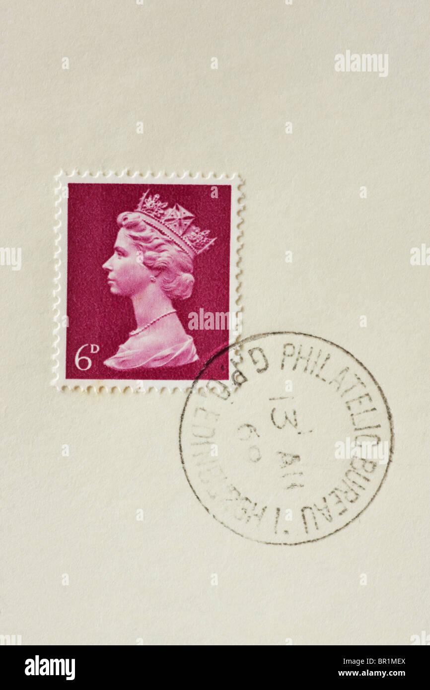 6d British Postage Stamp purple 1967 to 1969 - Stock Image