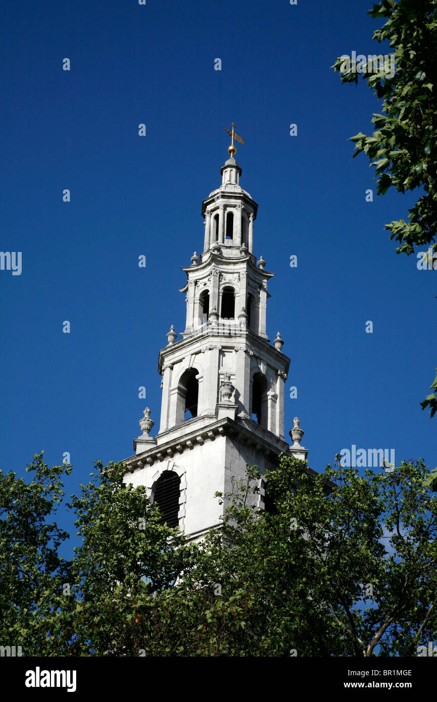 Steeple of St Clement Danes on The Strand, London, UK - Stock Image