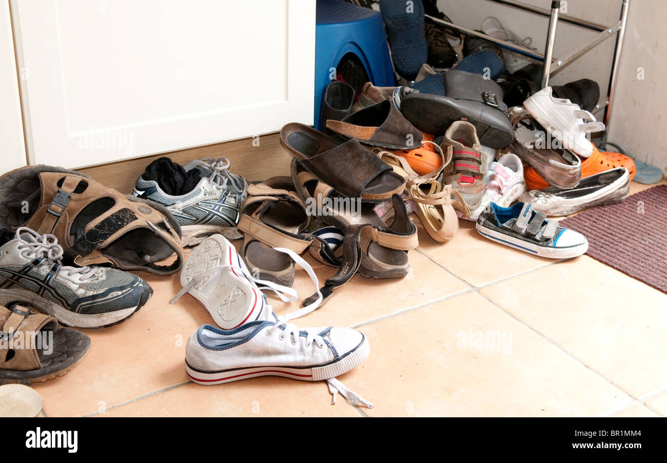 Piles of shoes - Stock Image
