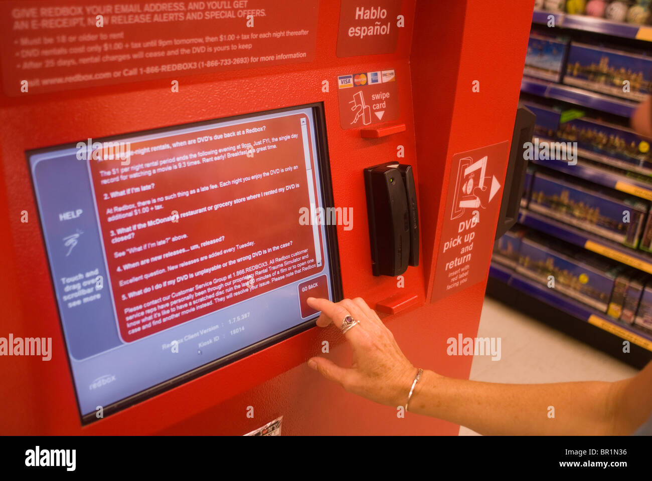A self-service Redbox video rental kiosk is seen in a