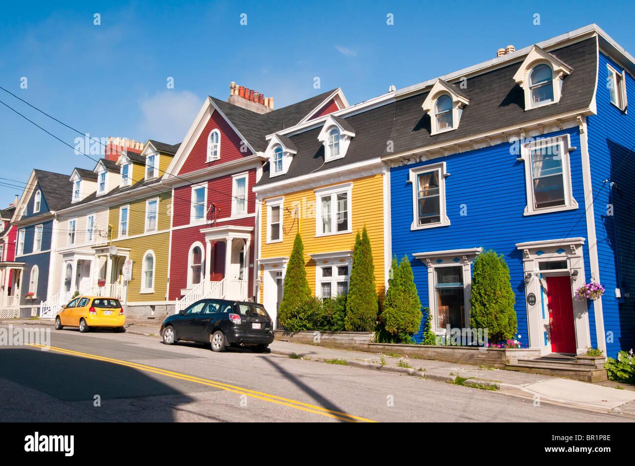 Jelly Bean Row >> Colorful Jelly Bean Row Houses Gower Street St John S Stock Photo