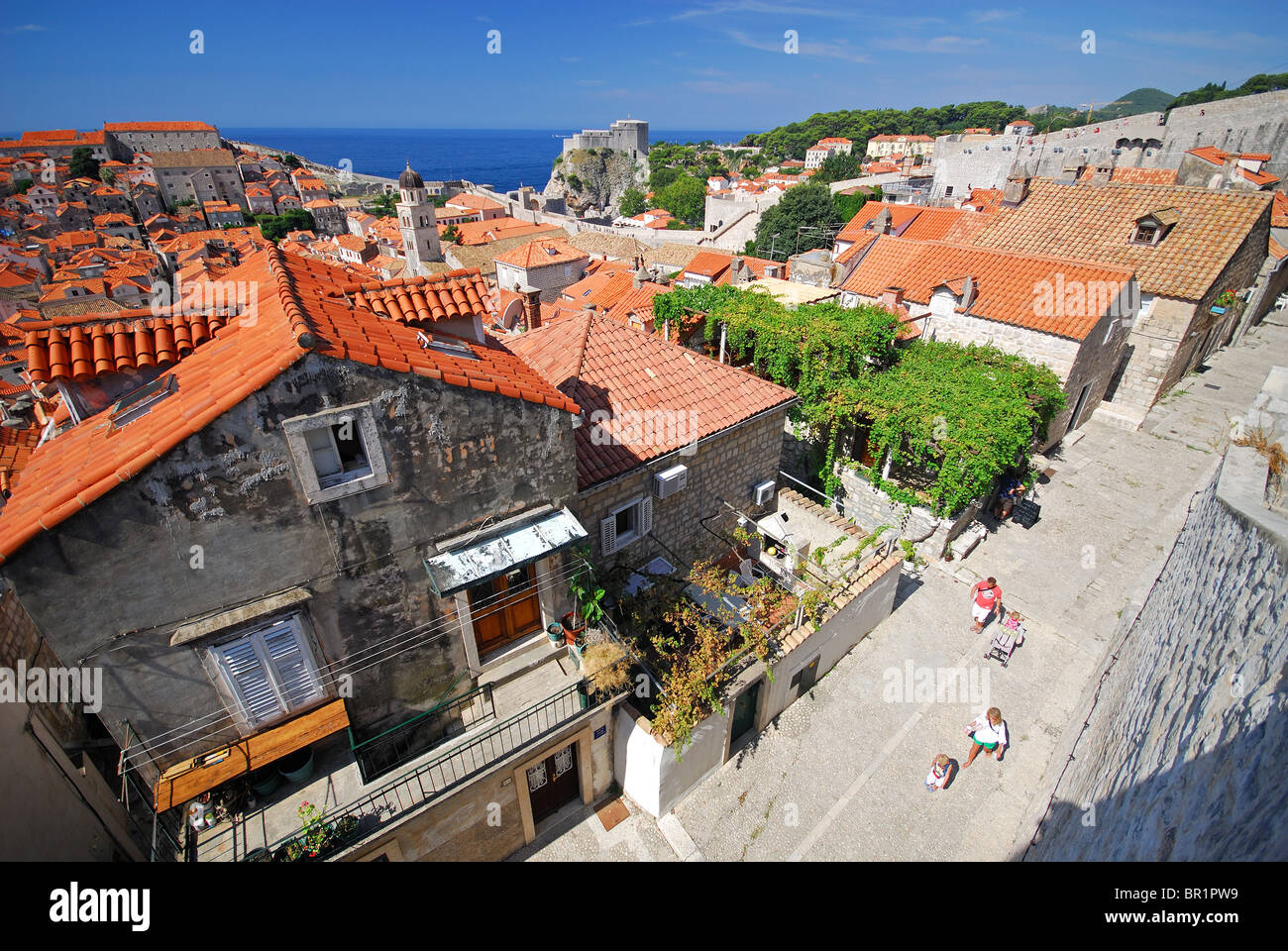 DUBROVNIK, CROATIA. A street in the old town, as seen from the town walls. 2010. Stock Photo
