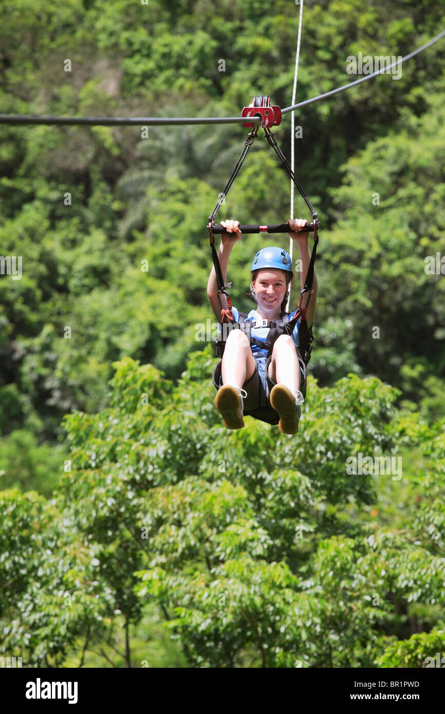 'Zip-Lining' through the tropical forest at St.Kitts Safari Rides - Stock Image