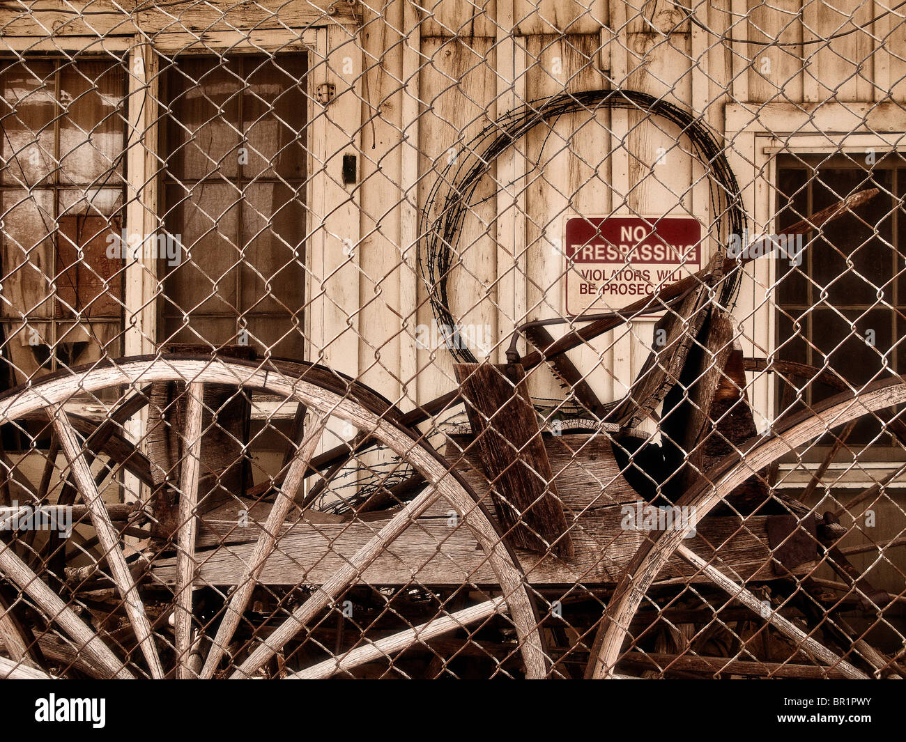 Found still-life of wheels & antique objects - Stock Image