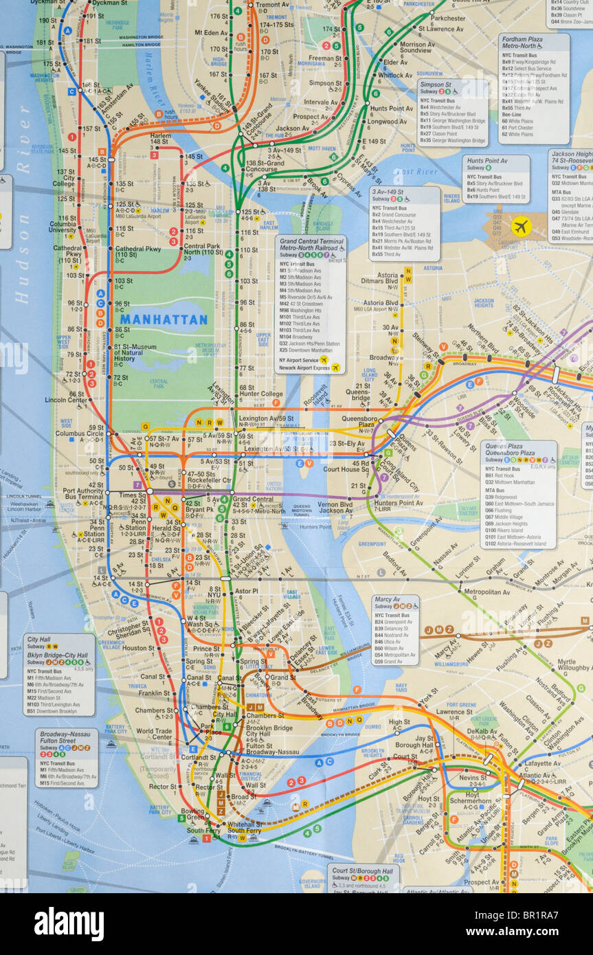 New York City Bus Map New York city subway and bus map Stock Photo: 31387727   Alamy