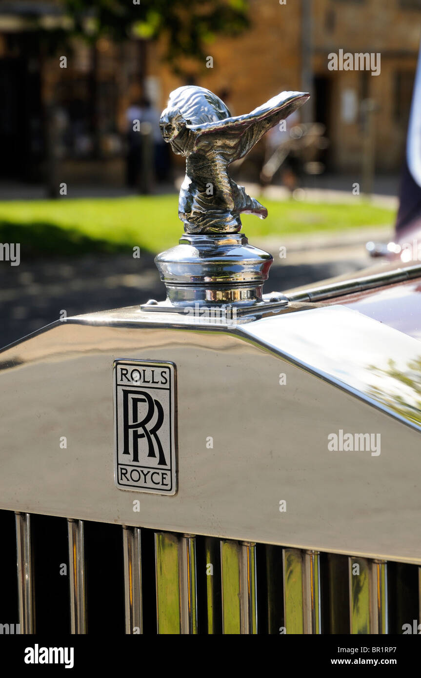 Classic Rolls Royce on Broadway High Street The Cotswolds - Stock Image