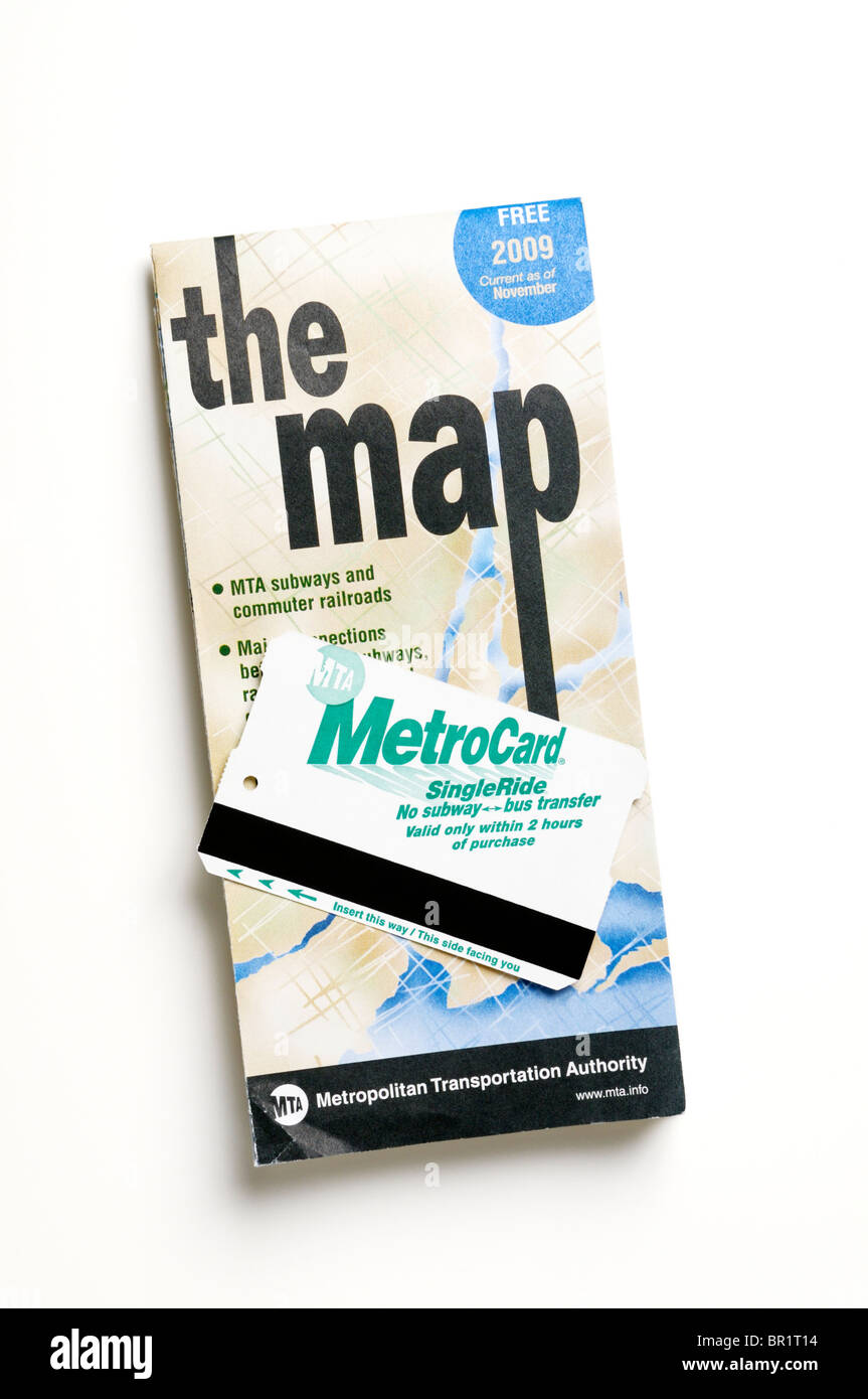 New York city subway and bus map with fare card (Metro Card