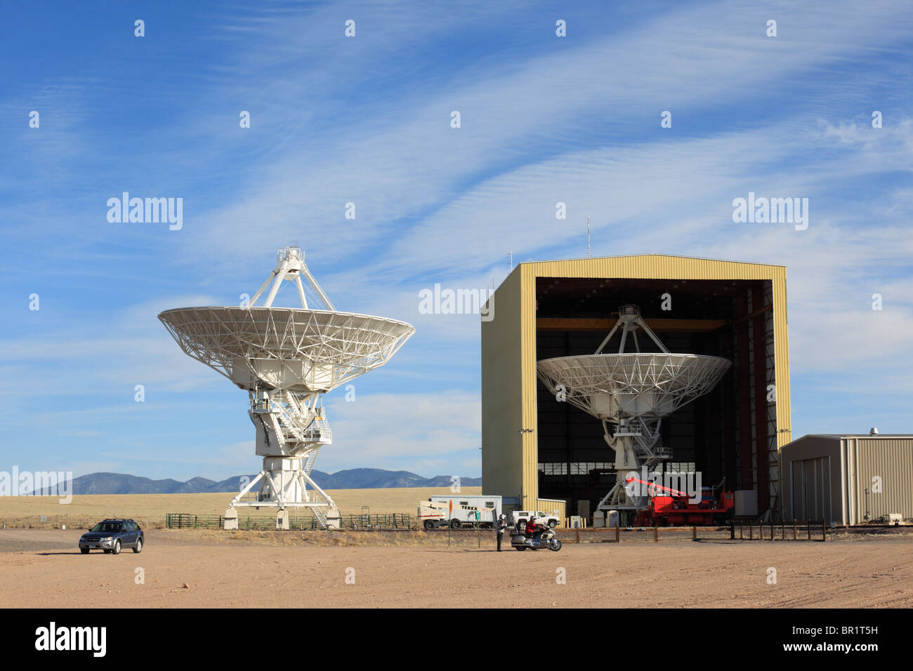 Giant radio telescope dishes in the Very Large Array, New Mexico. - Stock Image