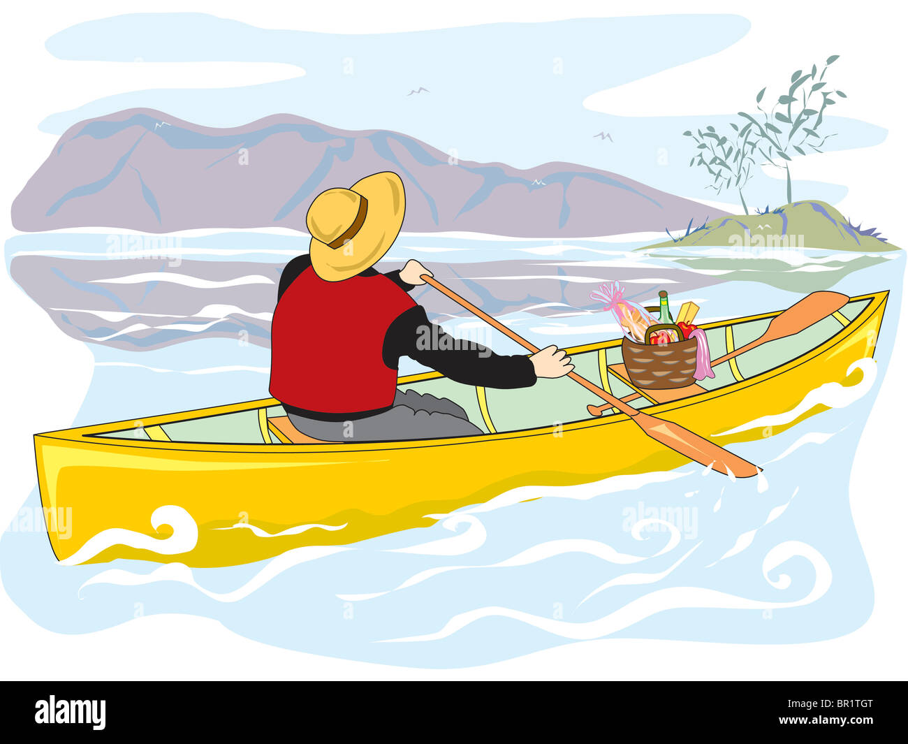 A Drawing Of Man Canoeing On River